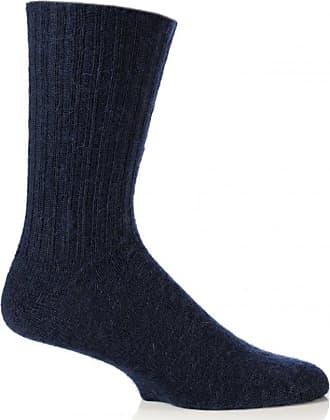 SockShop Mens & Ladies 1 Pair SockShop of London Mohair Ribbed Knit Gentle Grip True Socks In 2 Colours - 4-7 Unisex - Navy