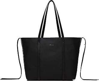 Quirk LEATHER LOOK TWO WAY TOTE SHOULDER BAG - BLACK