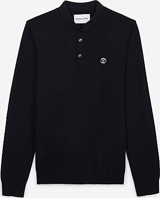 The Kooples Navy blue wool sweater with press studs - MEN