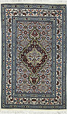 Nain Trading 91x61 Handknotted Moud Rug Dark Brown/Light Blue (Wool, Iran/Persia)