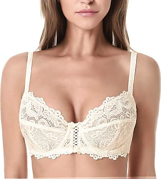 Wingslove Womens Floral Lace Bra Underwire Non Padded Soft Cup Full Coverage(Nude 36DD)