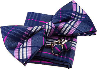 Retreez Stylish Tartan Plaid Check Woven Microfiber Pre-tied Bow Tie (Width: 5) with matching Pocket Square and Cufflinks, Gift Box Set as a Christmas Gift, B