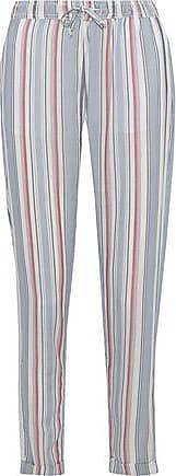 Onia Onia Woman Ella Striped Gauze Tapered Pants Sky Blue Size S