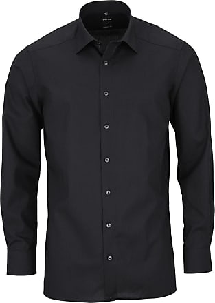 Olymp Mens Plain Classic Long Sleeve Formal Shirt Black Black - Black - 17