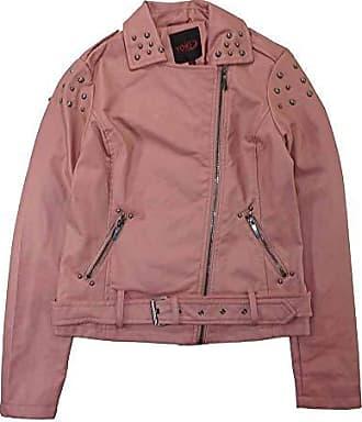 Yoki Womens Faux Leather Moto Jacket with Studs, Mauve, Medium