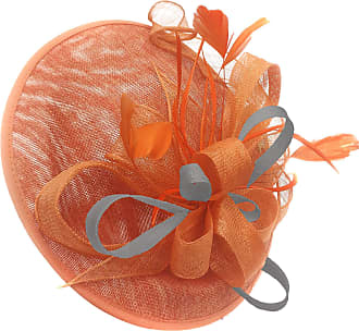 Caprilite Orange and Silver Grey Sinamay Big Disc Saucer Fascinator Hat for Women Weddings Headband