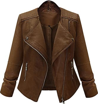 YOUJIA Womens Vintage Lapel Biker Style PU Leather Jacket Long Sleeve Short Fitted Moto Jackets (Coffee, Asia 3XL)