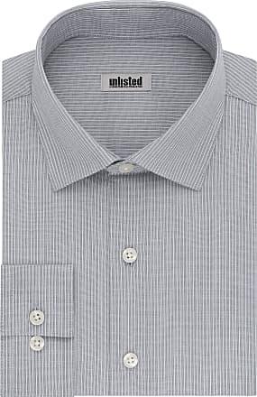 Unlisted by Kenneth Cole mens32LG053Dress Shirt Slim Fit Stripe Spread Collar Long Sleeve Dress Shirt - Blue - 17-17.5 Neck 32-33 Sleeve (XL)