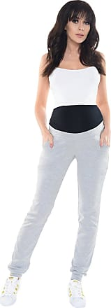 Purpless Maternity Pregnancy Trousers Under and Over Bump Joggers for Pregnant Women 1321 (14, Light Gray Melange)