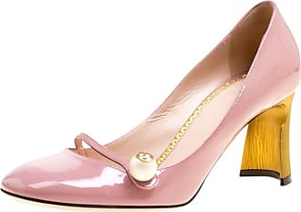 bab7509f894 Gucci Pink Patent Leather Pearl Detail Mary Jane Pumps Size 38.5