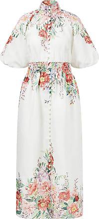 Zimmermann Leinenkleid Bellitude Waist mit floralem Print Weiß/Multi