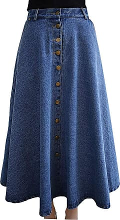 Vdual Womens Vintage Plus Size Long Skirts Pure Color Denim Jean Flared Midi Skirt Blue