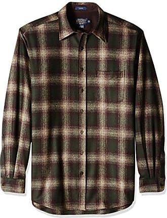 Pendleton Mens Size Long Sleeve Button Front Tall Lodge Shirt, Brown/Green/Taupe Mix Ombre, LG