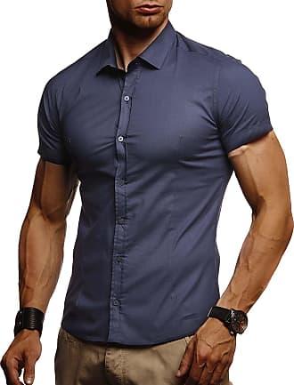 LEIF NELSON Mens Short-Sleeved Shirt LN-3520 Dark Blue X-Large