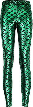 Zhuhaixmy Womens Mermaid Fish Scale Digital Printing Stretch Tight Shine Leggings Pants Green
