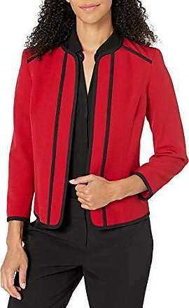 Kasper Womens Stretch Weave Jacket with Embroidered Cuff