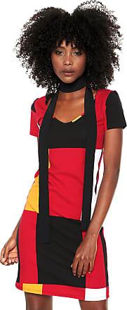 Lez a Lez Vestido Lez a Lez Curto Color Block Vermelho/Preto