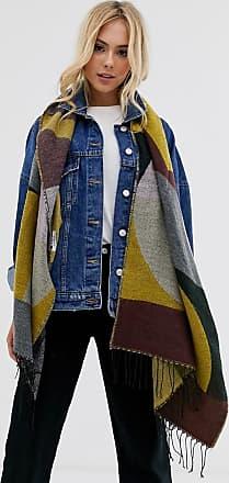 Pieces Oversize-Schal im Farbblockdesign-Mehrfarbig