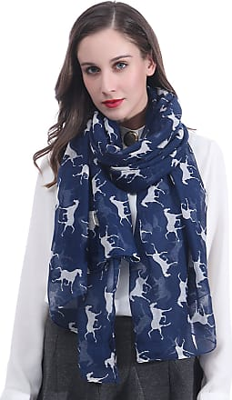 Lina & Lily Horse Print Womens Large Scarf Lightweight (Navy Blue)(Size: 180 X 100 cm)