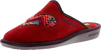 8688d8492 Nordikas 8130 4 Plus Afelpado Womens Suede Leather Material Mule Slippers  Red - 4 UK