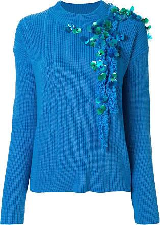 Onefifteen Suéter de tricô canelado com bordado - Azul