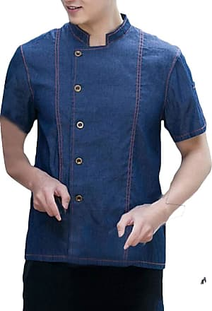 H&E Men Kitchen Single Breasted Pocket Loose Stand Neck Dungaree Denim Chefs Jacket Coat Blue XL