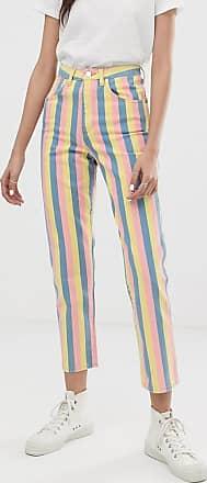 Wrangler Mom jeans a vita alta a righe pastello-Multicolore