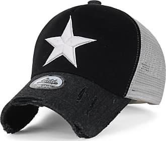 Ililily Star Embroidery tri-Tone Trucker Hat Adjustable Cotton Baseball Cap (XL, Black_XL)