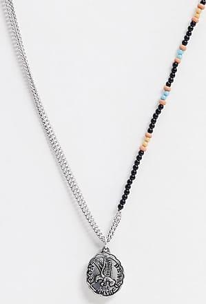 Icon Brand Catenina asimmetrica in metallo e con perline con ciondoli a moneta-Multicolore