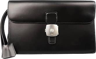 4d64a1152e Dunhill Black Leather Silver Lock Wristlet Clutch