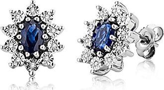 3515b6c1eb Miore Miore Orecchini Argento Donna Piccoli a Lobo Zaffiro Blu Diamanti  taglio Brillante ct 0.05 Argento