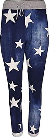 21Fashion Womens Floral Rose Printed Denim Jeans Ladies Italian Turn Up Trouser Pants Dark Blue Star Print UK 10