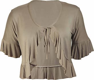 Purple Hanger New Ladies Plus Size Tie Frill Ruffle Shrug Tops Womens Bolero Cropped Stretch Cardigan Top Mocha Light Brown Size 22 - 24