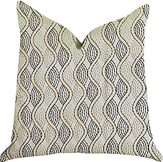 Plutus Brands Enigma Twist Double Sided Luxury Throw Pillow 18 x 18 Beige/Gold