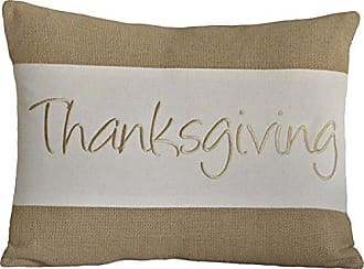 VHC Brands Harvest & Thanksgiving Holiday Pillows & Throws - Thanksgiving Tan 14 x 18 Pillow, Parchment