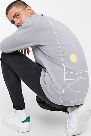 Topman Langärmliges Shirt in Grau mit gezeichnetem Cosmic-Print