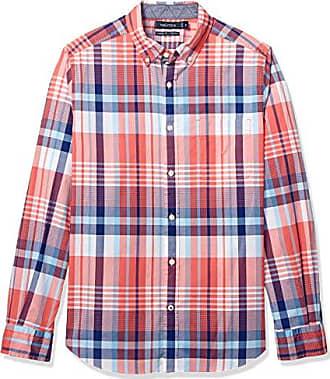 Nautica Mens Stretch Long Sleeve Stripe Button Down Shirt