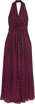 Philosophy di Lorenzo Serafini Striped Lurex Halterneck Gown - Purple