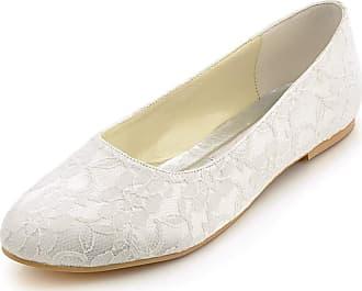 Elegantpark EP11106 Wedding Bridal Shoes Flat Women Closed Toe Lace Wedding Flats Bride Shoes Ivory UK 10(EU 43)