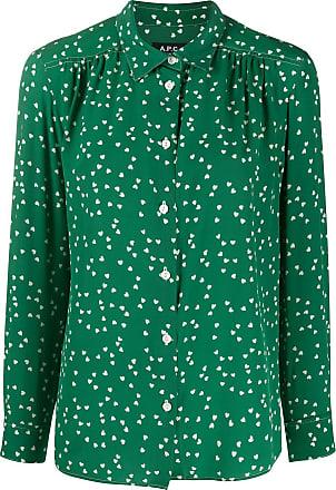 A.P.C. Blusa de seda com estampa de coração - Verde