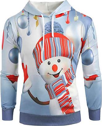 Yvelands Men Christmas Hoodies 3D Santa Snowman Printed Xmas Sweatshirt Drawsting Long Sleeve Hooded Pullover Jumper Blouse T-Shirt Mens Winter Autumn Top Outw