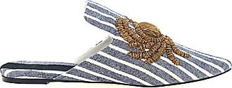 Sanayi 313 Slipper 113002 textile Embroidery Striped blue