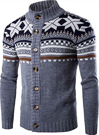 Jeansian Mens Snowflake X-Mas Cardigan Long Sleeve Button Down Knit Sweater Winterwear Jumper 88G4 LightGray XS