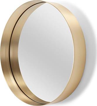 MADE.COM Alana runder Spiegel (50 cm), Messing