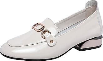 Jamron Womens Fashion Square Toe Chunky Heel Patent Leather Loafers Shoes White SN02605 UK7.5