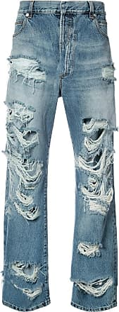 Balmain distressed slouched jeans - Blue