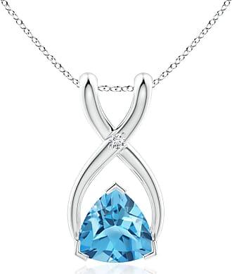 Angara Valentine Day Sale - Trillion Swiss Blue Topaz Wishbone Pendant with Diamond