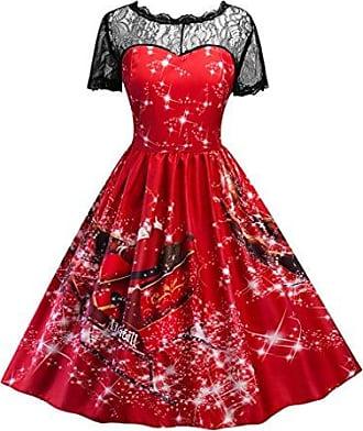 TWIFER Xmas Party Kleid Weihnachten Kost/üm Damen Santa Claus Gedruckt Kleid