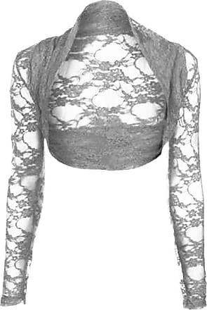 Top Fashion18 YOYOTRADING Womens Long Sleeve Lace Floral Ladies Cropped Short Shrug Bolero Cardigan Top 8-22 Silver Grey