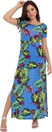 Manola Vestido Manola Gola Canoa Floral Fundo Azul Multicolorido